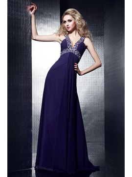 Glamorous Floor Length V Neck A Line Dashas Evening Dress