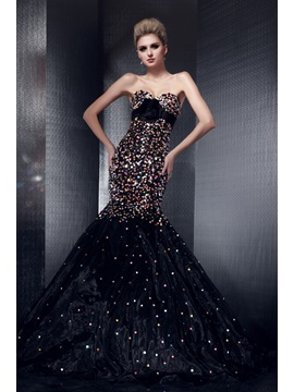 Luxurious Mermaid Sweetheart Sequins Flower Lace Up Floor Length Dashas Pageant Dress