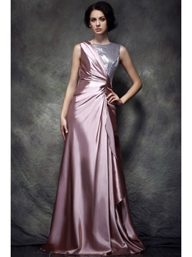 Stylish Bateau Neck A Line Floor Length Sequins Polinas Evening Dress