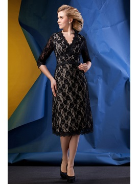 Romantic Lace A Line V Neck Half Sleeves Tea Length Alinas Mother Of The Bride Dress