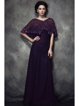 Graceful Lace Sequins Empire Waist V Neck Floor Length Polinas Mother Of Bride Dress