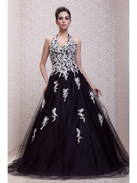Timeless Halter Appliques Floor Length Backless Talines Evening Ball Gown Dress