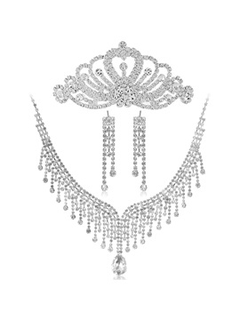 Dramatic Alloy Tassels With Rhinestone Wedding Jewelry Set Including Tiara Necklace And Earrings