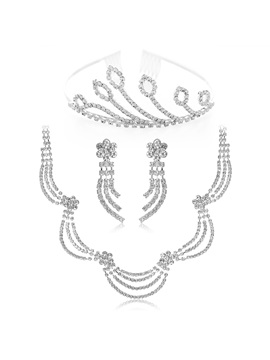 Simple Style Alloy Waves With Rhinestone Wedding Jewelry Set Including Tiara Necklace And Earrings