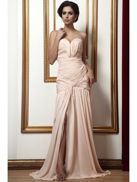Hot Selling Sweetheart Sheath Pleats Split Front Floor Length Talines Evening Dress
