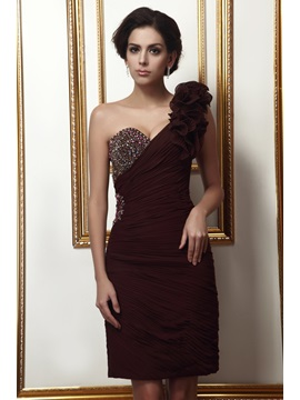 Elegant Beading Pleats Ruffles Sheath Column One Shoulder Knee Length Talines Mother Of The Bride Dress