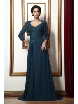 Marvelous Appliques Sequins A Line Floor Length V Neck Talines Mother Of The Bride Dress With Jacket Shawl