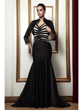 Mermaid V Neck Sweep Brush Train Talines Mother Of The Bride Dress With Jacket Shawl