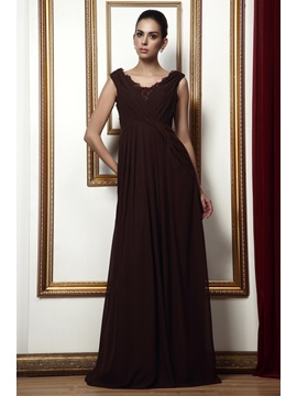 Enchanting Lace Trimmed A Line Floor Length Scoop Talines Bridesmaid Dress