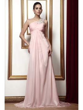Graceful Draped Beading A Line One Shoulder Floor Length Talines Mother Of The Bride Dress