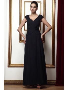 Gorgeous V Neck Flower Draped Ankle Length Talines Mother Of The Bride Dress