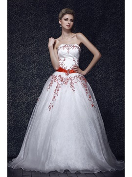 Superior Floor Length Strapless Emboridery A Line Dashas Ball Gown Quinceanera Dress