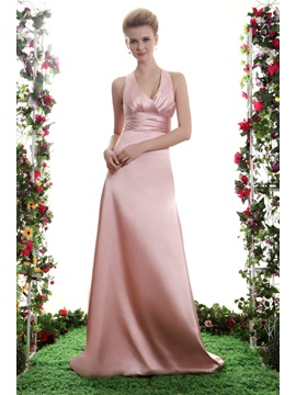 Empire A Line V Neck Floor Length Yanas Bridesmaid Dress