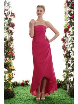 Sheath Column Asymmetry Strapless Yanas Bridesmaid Dress