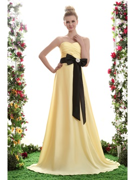 Elegant Sashes A Line Strapless Bowknot Ruffles Floor Length Yanas Bridesmaid Dress