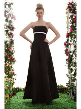 New Elegant A Line Strapless Floor Length Yanas Bridesmaid Dress