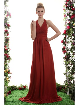 Fabulous A Line Empire Waist Floor Length Halter Yanas Bridesmaid Dress