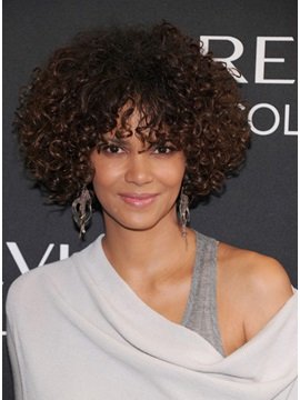Halle Berry Hairstyle Curly Human Hair Full Lace Wig About 12 Inches