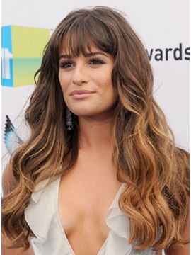 Celebrity Hairstyle Wavy Human Hair Wig About 22 Inches