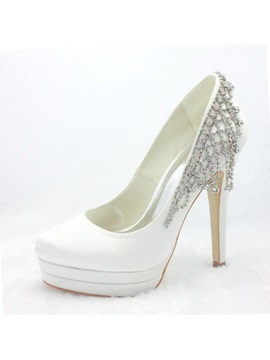 Honey Stiletto Heels Closed Toe Satin Wedding Shoes