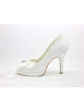 Popular Styles Satin Stiletto Heels Peep Toe Wedding Bridal Shoes
