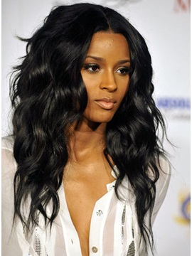 Ciara Hairstyle Human Hair Wavy Lace Wig About 22 Inches