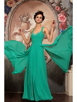 Back Hollow Floor Length A Line Prom Evening Dress