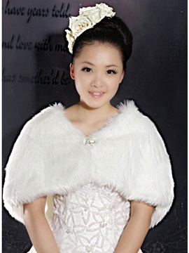 Faux Fur Wedding Wrap Shawl With Bowknot Rhinestone Brooch More Colors