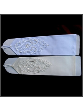 Classic Finger Less Embroidered Satin Wedding Glove With Seamed Bead And Sequins 2colors