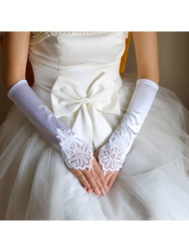 Finger Less Long Satin Wedding Glove With Lace Applique Black White Red