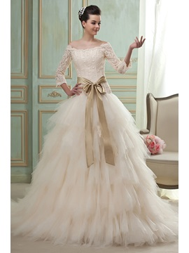 Gorgeous 3 4 Length Sleeves A Line Princess Off The Shoulder Chapel Tiered Wedding Dress