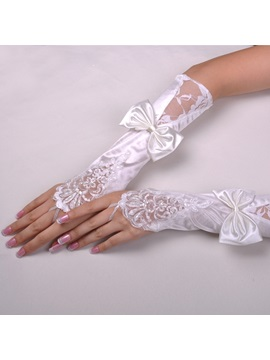 Stylish Long Finger Less Satin With Lace Applique And Bowknot Wedding Glove