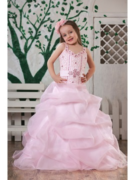 A Line Straps Floor Length Beaded Flower Girl Dress