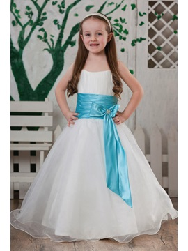 Attractive A Line Square Flower Length Bowknot Sash Flower Girl Dress