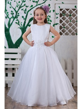 A Line Round Neck Floor Length Flower Girl Dress