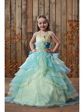 Beautiful Ball Gown Tiered Halter Floor Length Flower Girl Dress