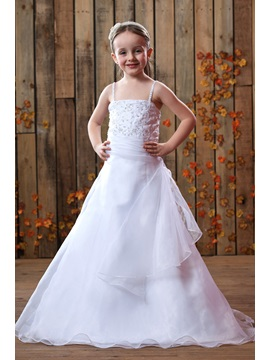 Spaghetti Straps Floor Length A Line Flower Girls Dress