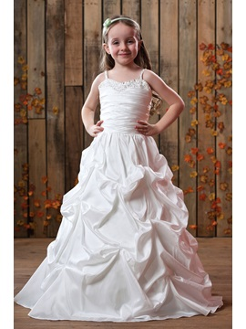 Lovely Spaghetti Straps Ruffling Floor Length Flower Girls Dress