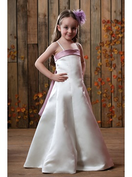 A Line Spaghetti Straps Sashes Satin Flower Girls Dress