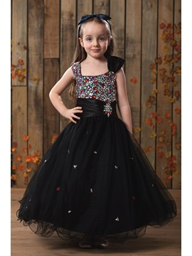 A Line Sqaure Knee Length Rhinestone Flower Girl Dress