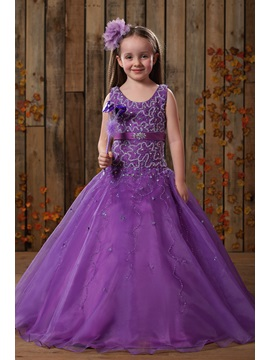 Beautiful Ball Gown Scoop Floor Length Beaded Flower Girl Dress