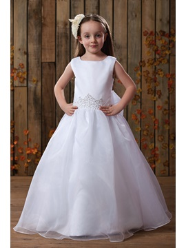 Fresh Bateau Ankle Length Flower Girl Dress