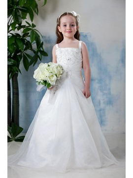 Beautiful Square Neck A Line Floor Length Flower Girl Dress