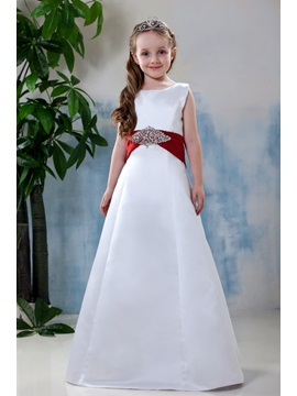 Simple Style A Line Scoop Bowknot Flower Girl Dress