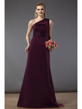 Draped Illusion Column One Shoulder Floor Length Bridesmaid Dress