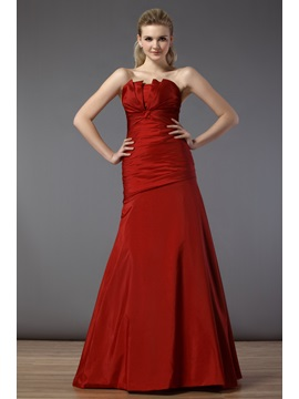 Exquisite Ruched A Line Strapless Floor Length Bridesmaid Dress