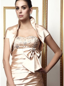 Remarkable Unpatterned Stand Collar Short Ladys Evening Wedding Jacket