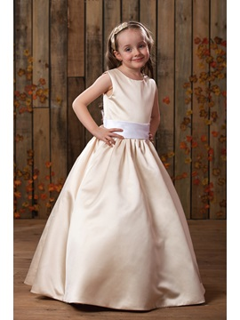 Amazing A Line Princess Floor Length Satin Flower Girl Dress