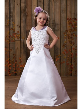 A Line V Neck Floor Length Flower Girl Dress