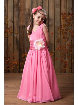 A Line V Neck Floor Length Flower Embellishing Flower Girl Dress